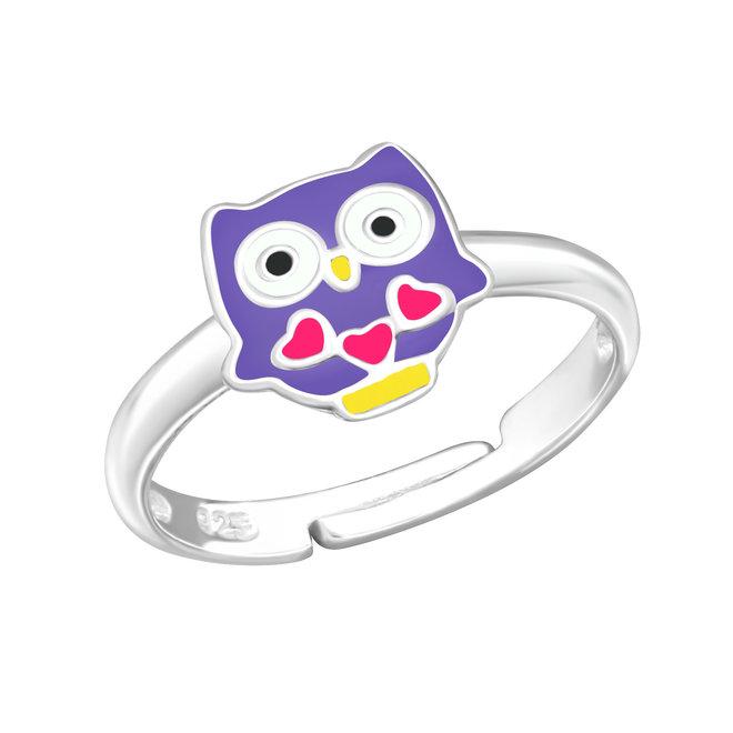 Zilveren ring: Uil met hartjes