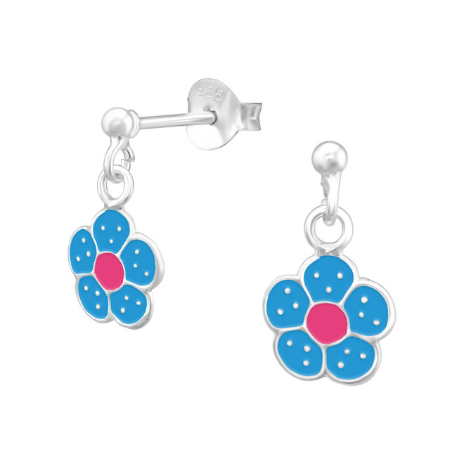 Zilveren kinderoorbellen: Blauwe bloem met witte stippen