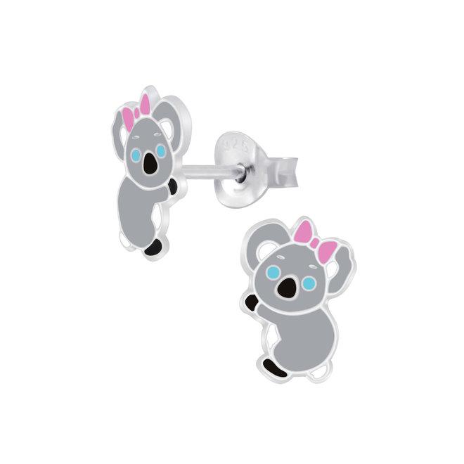 Zilveren kinderoorbellen: Koala grijs met roze strik