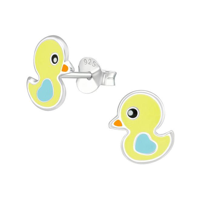 Zilveren kinderoorbellen: Schattig geel eendje met blauwe vleugels