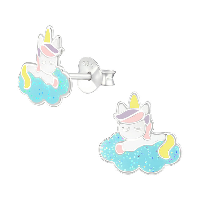 Zilveren kinderoorbellen: Eenhoorn op wolkje van glitter