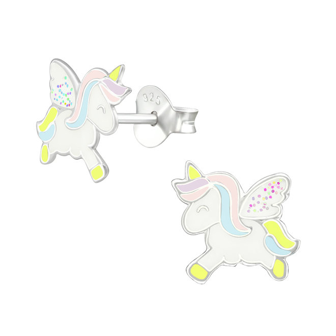 Zilveren kinderoorbellen: Eenhoorn met glitter vleugels