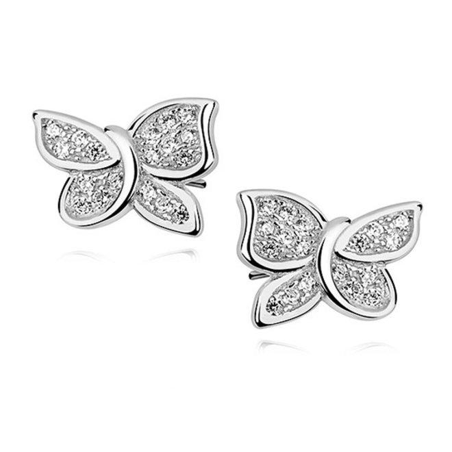 Zilveren kinderoorbellen: Vlinders met zirkonia steentjes