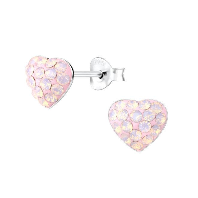 Zilveren kinderoorbellen: Licht roze hartje met kristallen steentjes