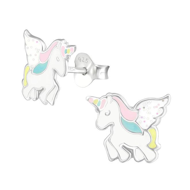 Zilveren kinderoorbellen: Eenhoorn met zachte kleuren