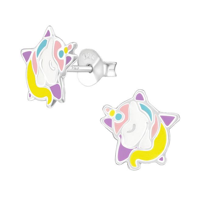Zilveren kinderoorbellen: Eenhoorn met ster