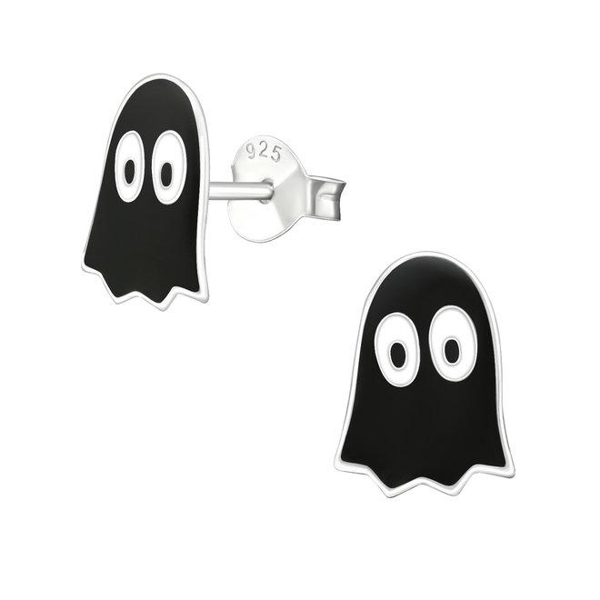 Zilveren kinderoorbellen: Halloween Zwarte spook