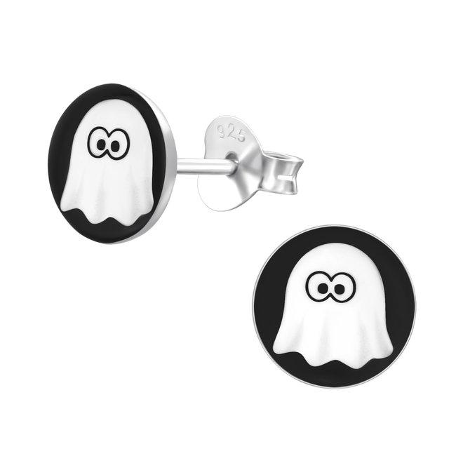 Zilveren kinderoorbellen: Halloween Witte spook