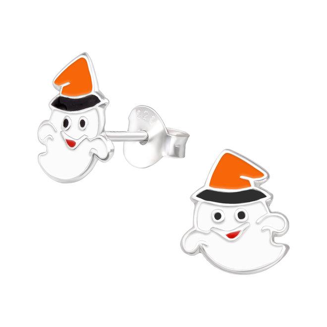 Zilveren kinderoorbellen: Halloween Witte spook  met hoed