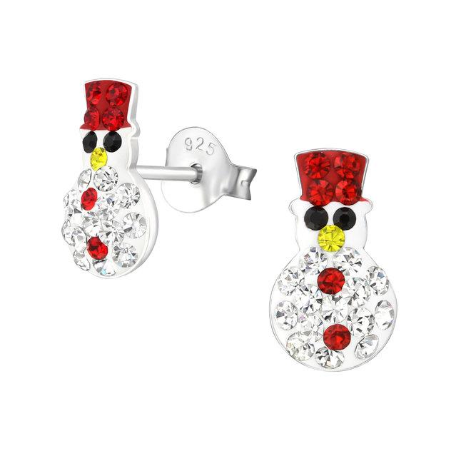 Zilveren kinderoorbellen: Kerstmis Sneeuwman met kristallen steentjes