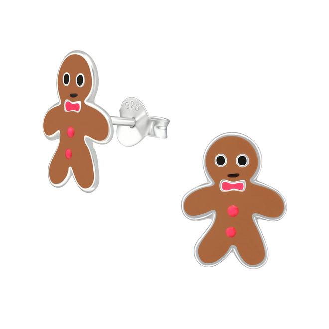 Zilveren kinderoorbellen: Kerstmis Peperkoeken mannetje