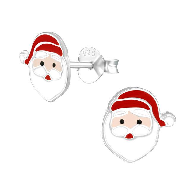 Zilveren kinderoorbellen: Kerstmis Kerstman