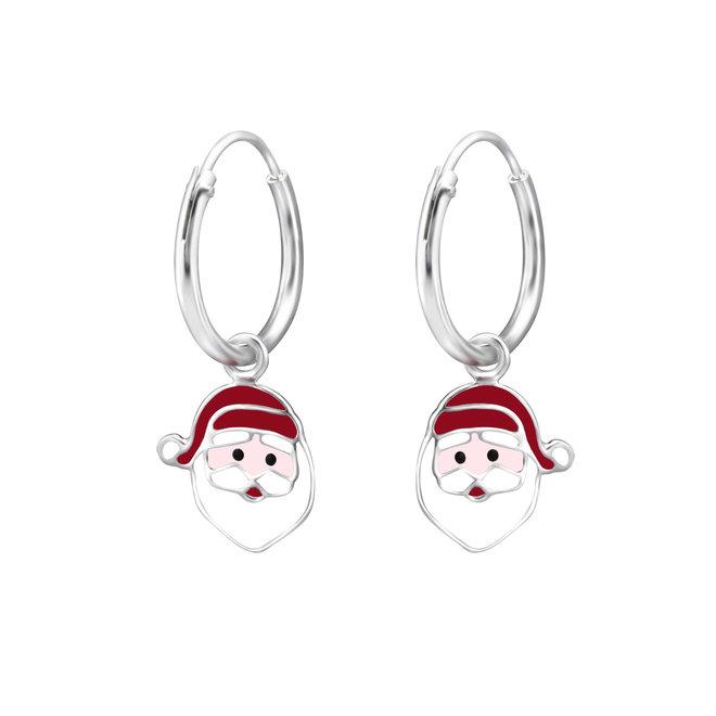 Zilveren kinderoorbellen: Creool Kerstmis Kerstman