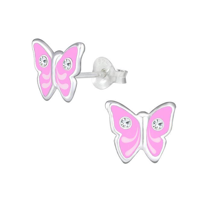 Zilveren kinderoorbellen: Roze vlinder met steentjes
