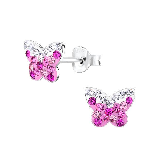 Zilveren kinderoorbellen: Vlinder met zirkonia steentjes