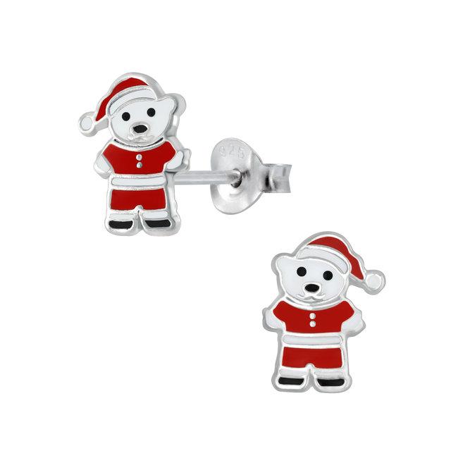 Zilveren kinderoorbellen: Kerstmis Beertje