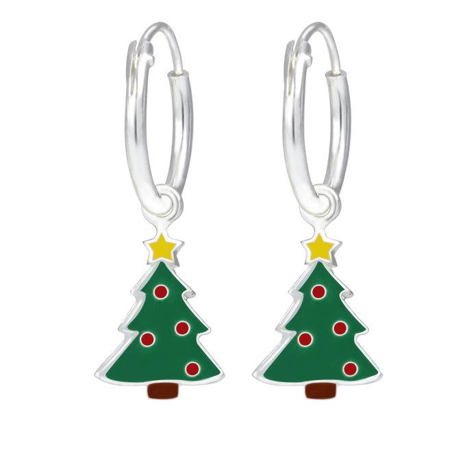 Zilveren kinderoorbellen: Creool Kerstmis Kerstboom