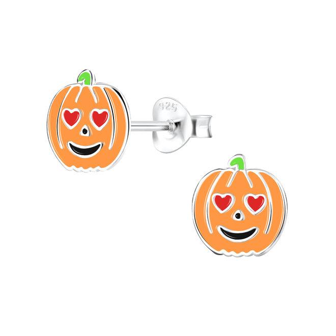Zilveren kinderoorbellen: Halloween Pompoen