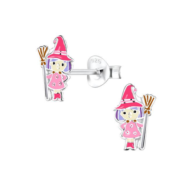 Zilveren kinderoorbellen: Halloween Heks met bezemsteel