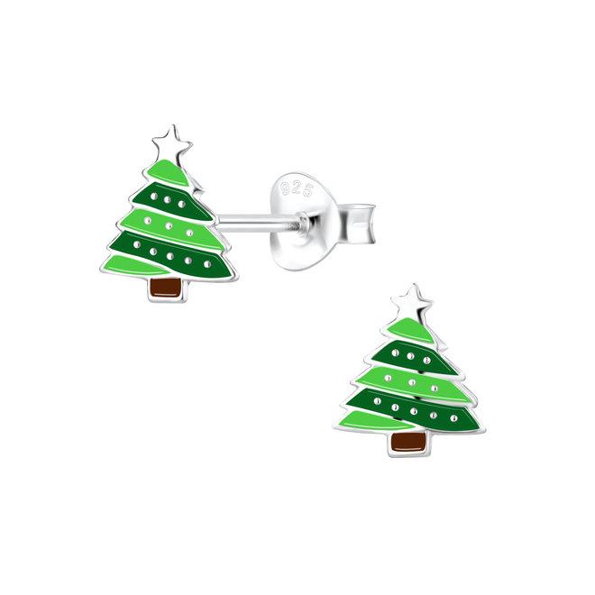 Zilveren kinderoorbellen: Kerstmis kerstboom