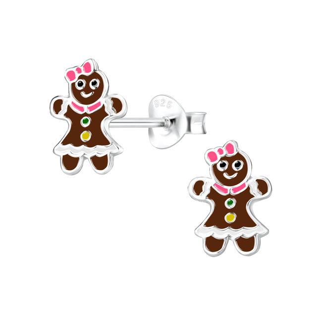 Zilveren kinderoorbellen: Kerstmis Peperkoeken vrouwtje