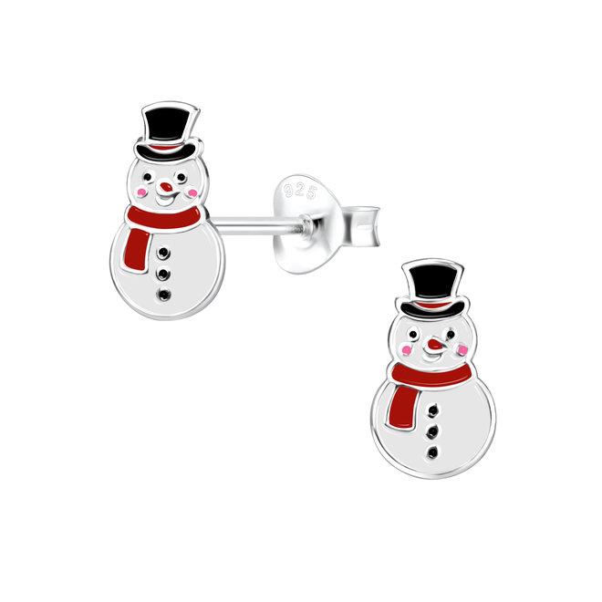 Zilveren kinderoorbellen: Kerstmis Sneeuwman
