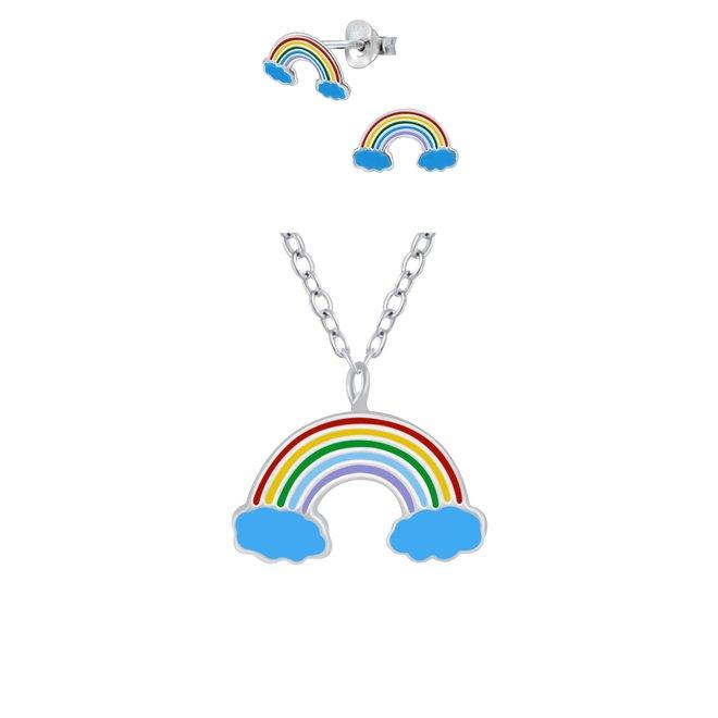 Zilveren kindersieradensetje: Regenboog