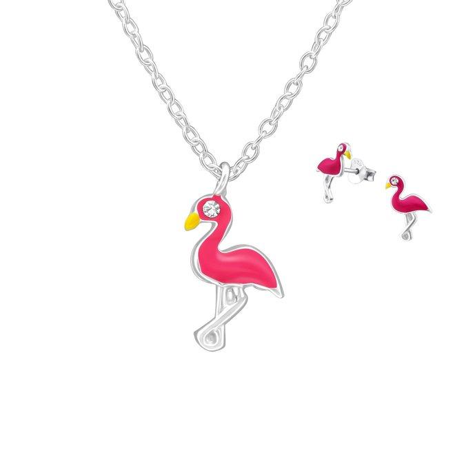 Zilveren kindersieradensetje: Flamingo