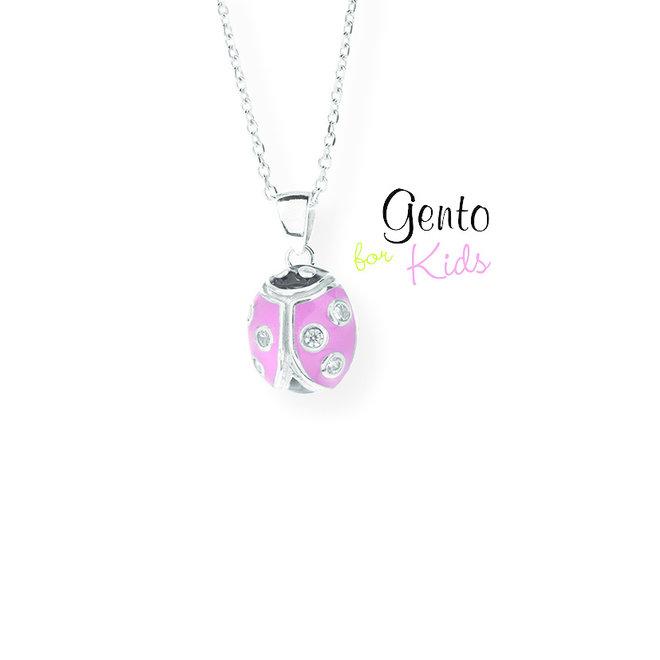 Gento for Kids hanger: Lieveheersbeestje  roze met steentjes
