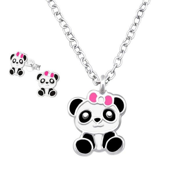 Zilveren kindersieradensetje: Panda met strikje