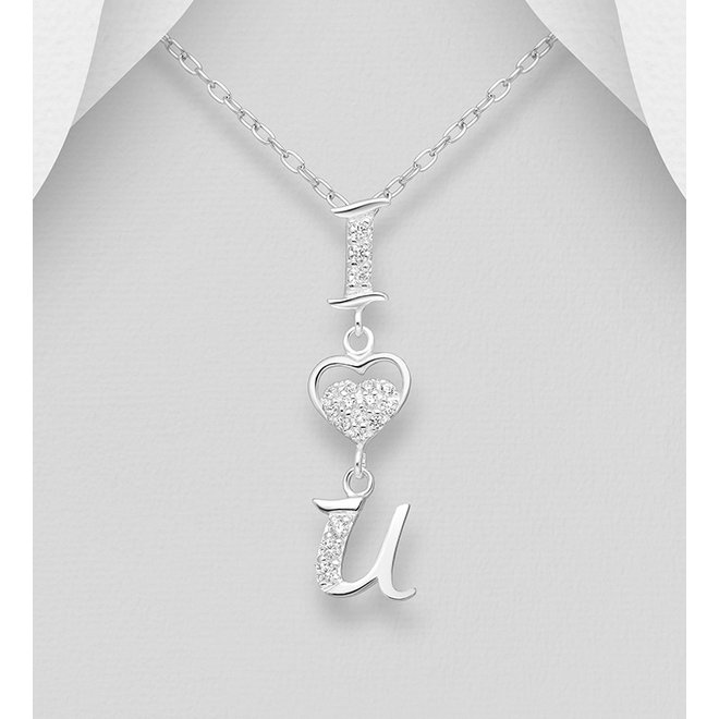 """Zilveren hanger dames: """"I Love You"""" ketting (zonder ketting)"""