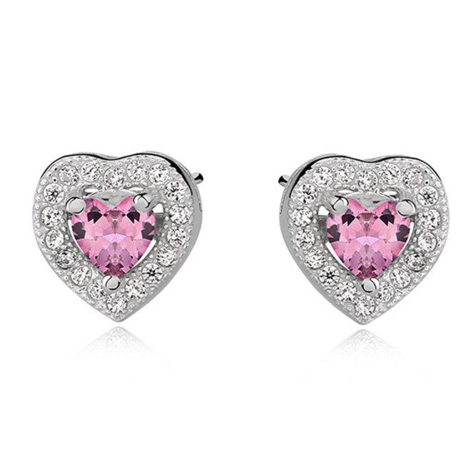 Zilveren kinderoorbellen: Hartje met zirkonia steentjes roze