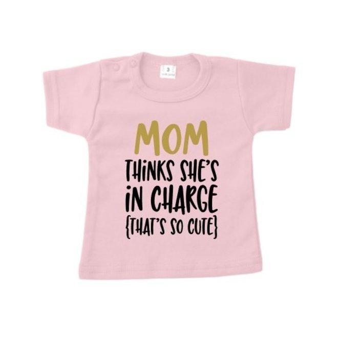 """T-shirt: Mom in charge """"roze"""""""