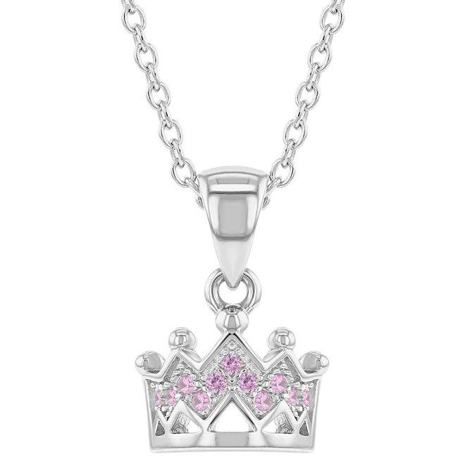 Zilveren Halsketting: Kroon met zirkonia steentjes