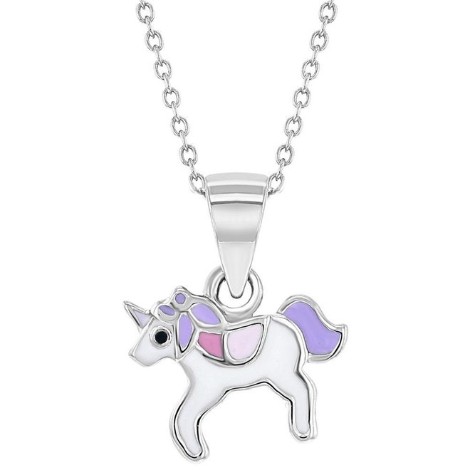 Zilveren kindersieradensetje: Eenhoorn wit met paars