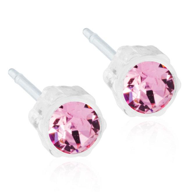 Oorsteker Blomdahl met licht roze kristal steentje