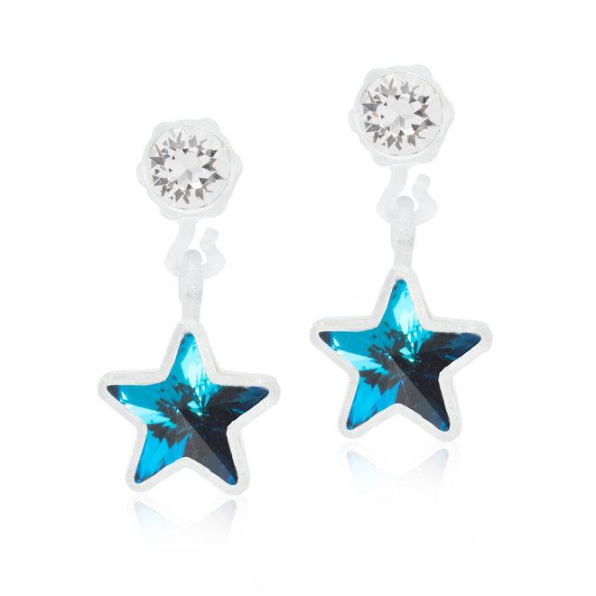 Oorsteker Blomdahl ster met blauw kristal steentje