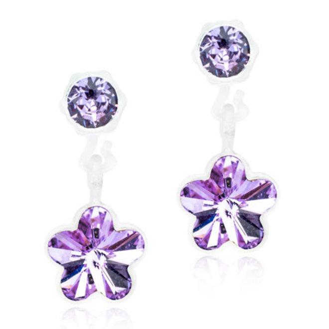 Oorsteker Blomdahl bloem hangend met paars kristal steentje