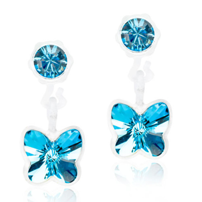 Oorsteker Blomdahl vlinder hangend met blauw kristal steentje