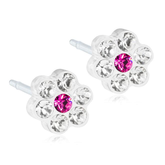 Oorsteker Blomdahl bloem kristal en donker roze