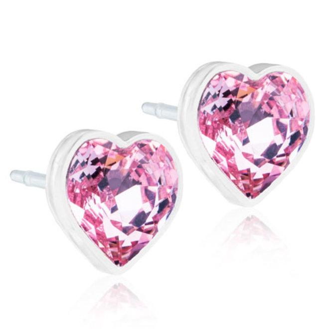 Oorsteker Blomdahl hart met licht roze kristal steentje