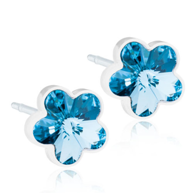 Oorsteker Blomdahl kristallen bloem blauw