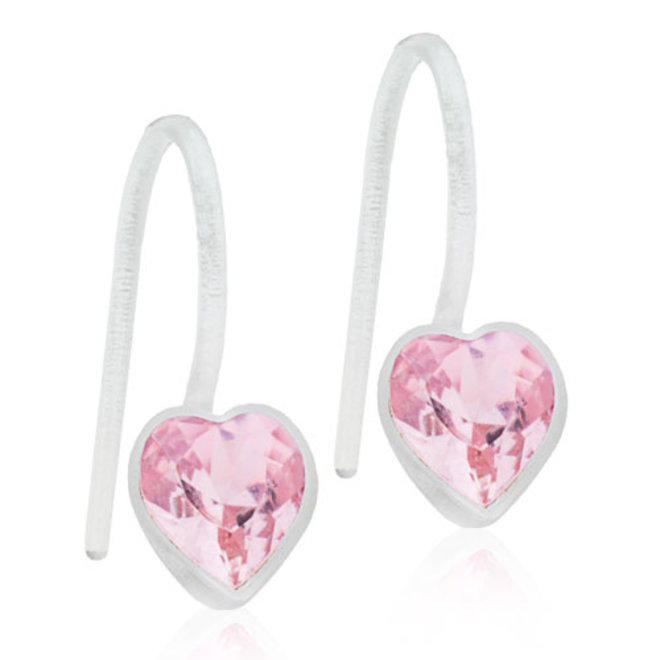 Oorhanger Blomdahl hart met lichtroze kristal steentje