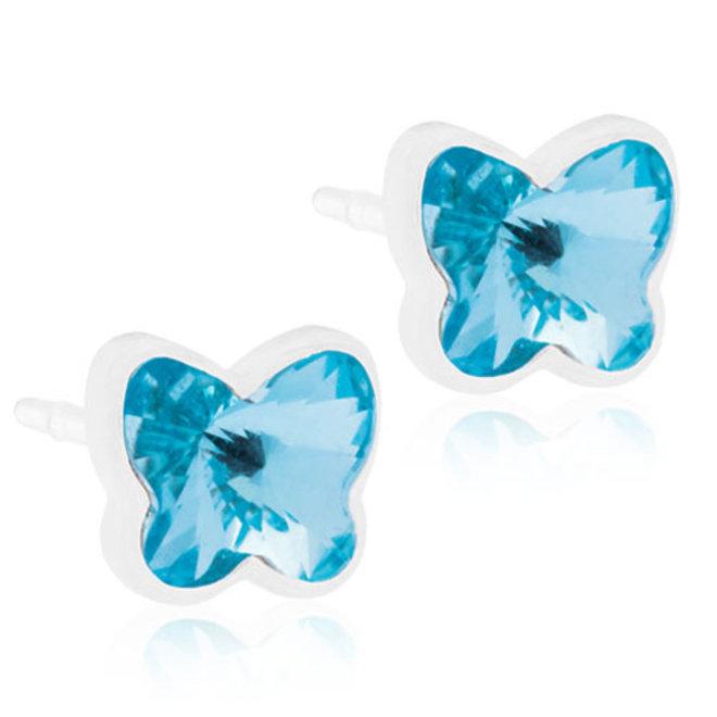 Oorsteker Blomdahl kristallen vlinder blauw