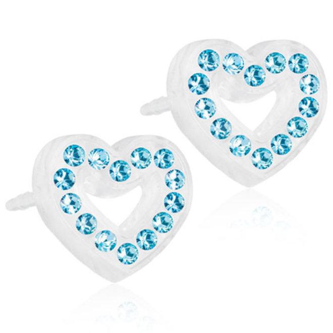 Oorsteker Blomdahl hart met licht blauwe kristallen steentjes