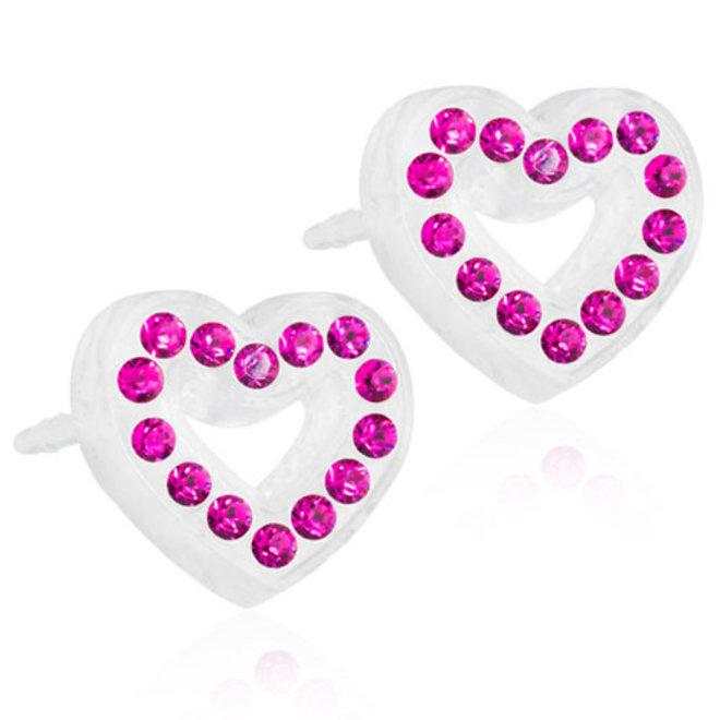 Oorsteker Blomdahl hart met donker roze kristallen steentjes