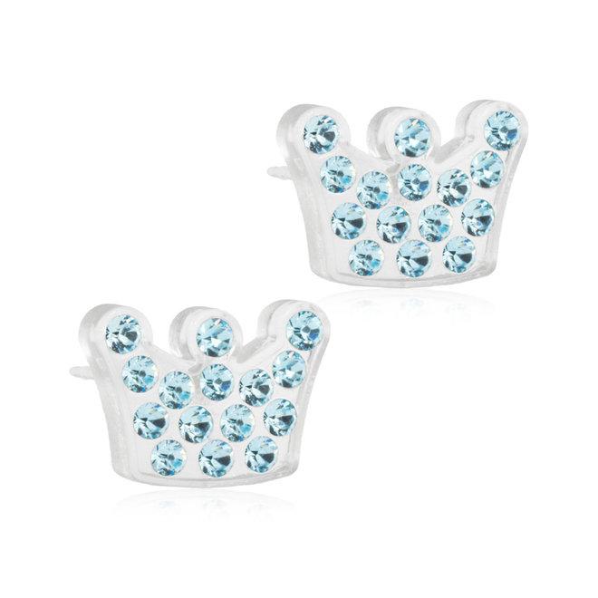 Oorsteker Blomdahl kroon met licht blauwe kristallen steentjes