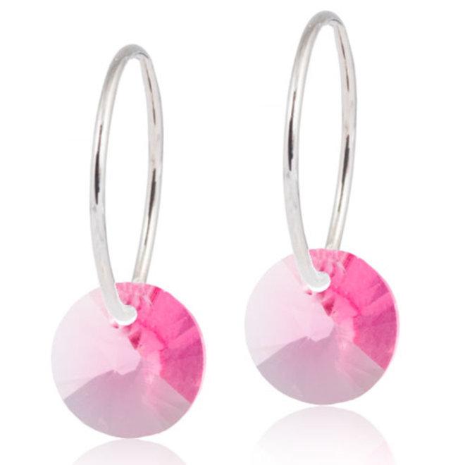 Creool Blomdahl met roze kristallen hanger