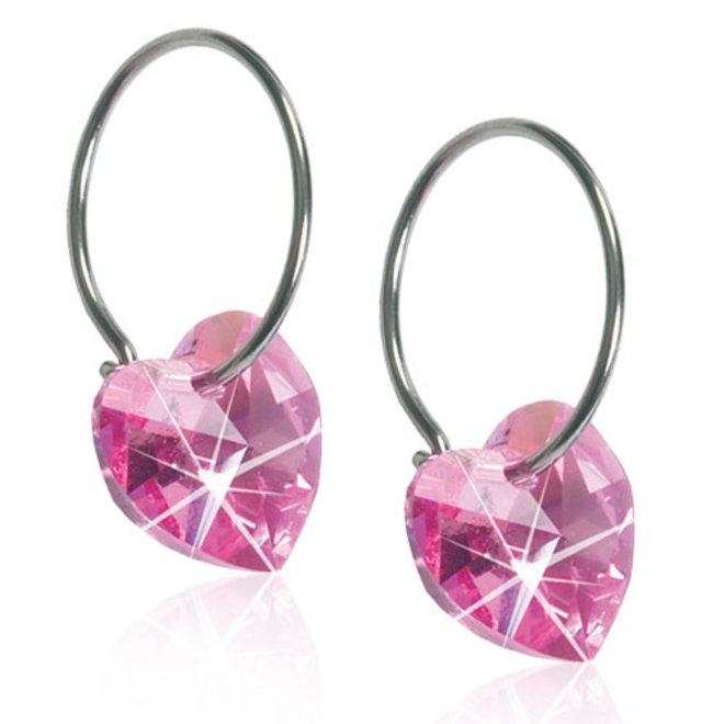 Creool Blomdahl met roze kristallen hart