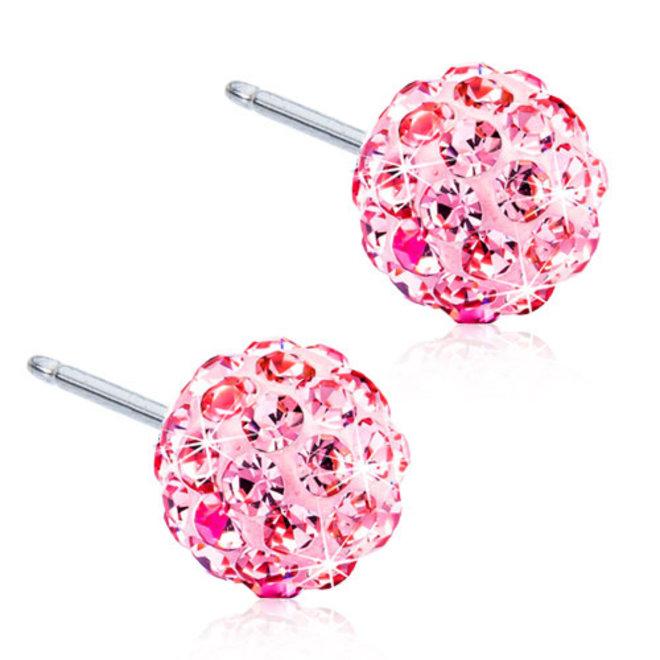 Oorsteker Blomdahl bal van roze kristallen